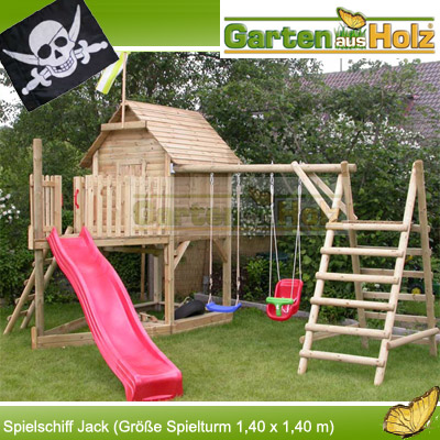 spielturm spielschiff jack spielhaus aus holz mit rutsche und schaukel neu hoq ebay. Black Bedroom Furniture Sets. Home Design Ideas